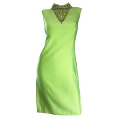 1960s Lime Green Vintage Beaded + Sequined 60s Bright Mod Shift Dress w/ Pearls