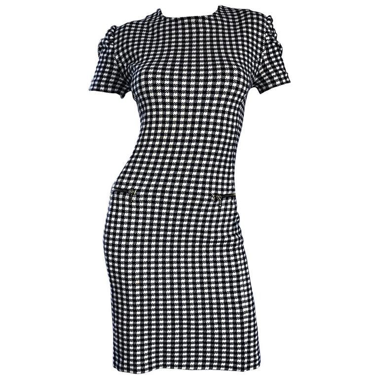 1990s Black and White Gingham Bodycon 90s Checkered Sexy Vintage Cotton Dress  1