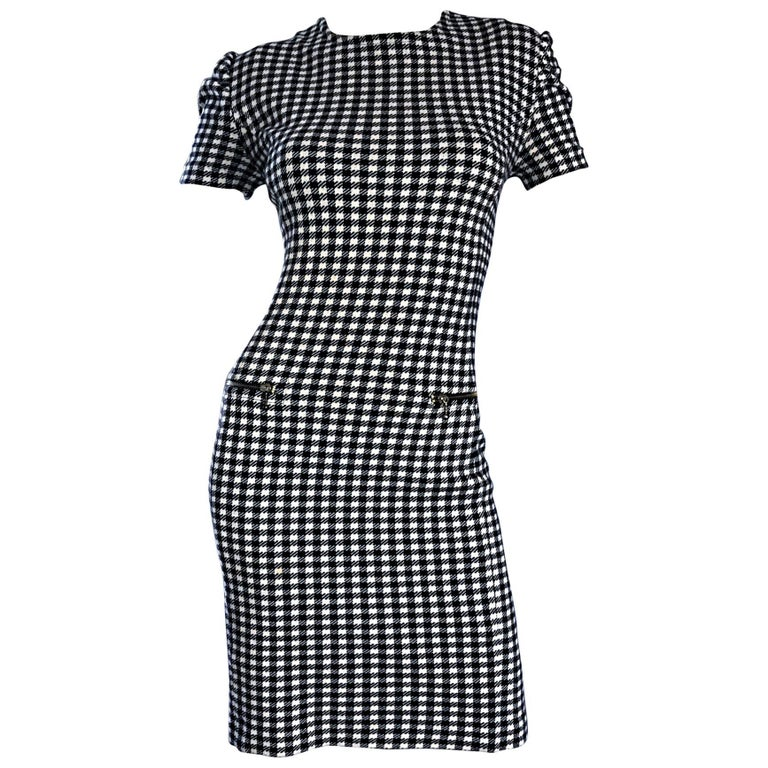 1990s Black and White Gingham Bodycon 90s Checkered Sexy Vintage Cotton Dress  For Sale