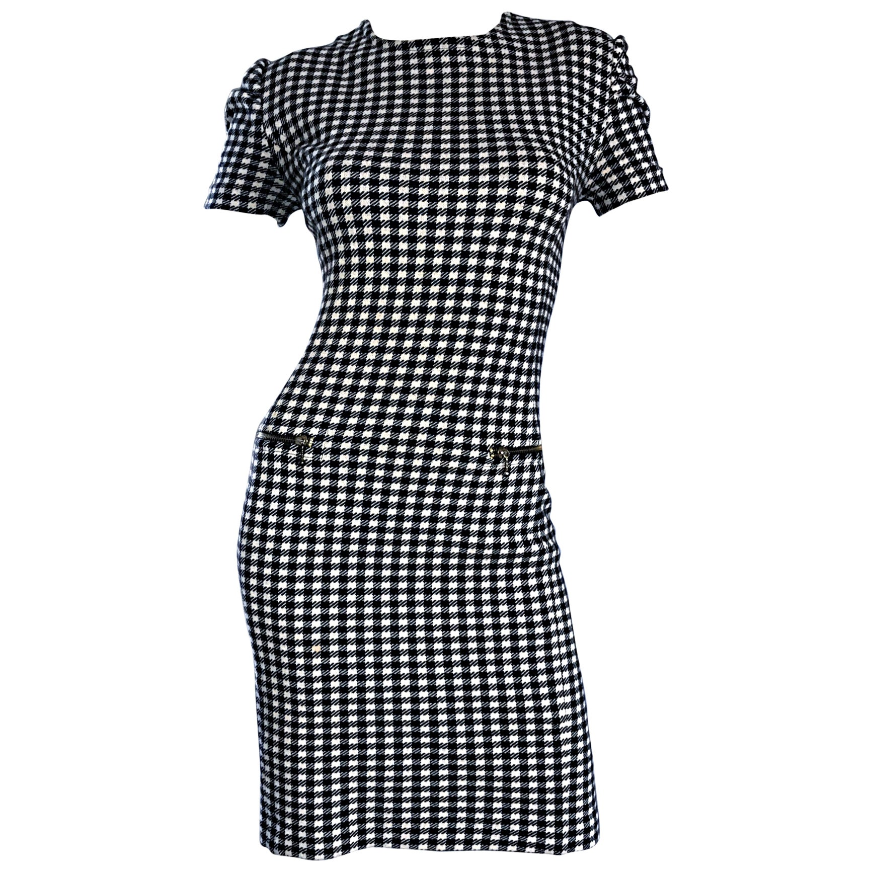 1990s Black and White Gingham Bodycon 90s Checkered Sexy Vintage Cotton Dress