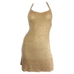 Vintage Moschino Cheap and Chic 1990s Gold Metallic Halter Neck Sweater Dress