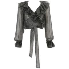 Yves Saint Laurent metallic silver lame chiffon wrap blouse, circa 1970s