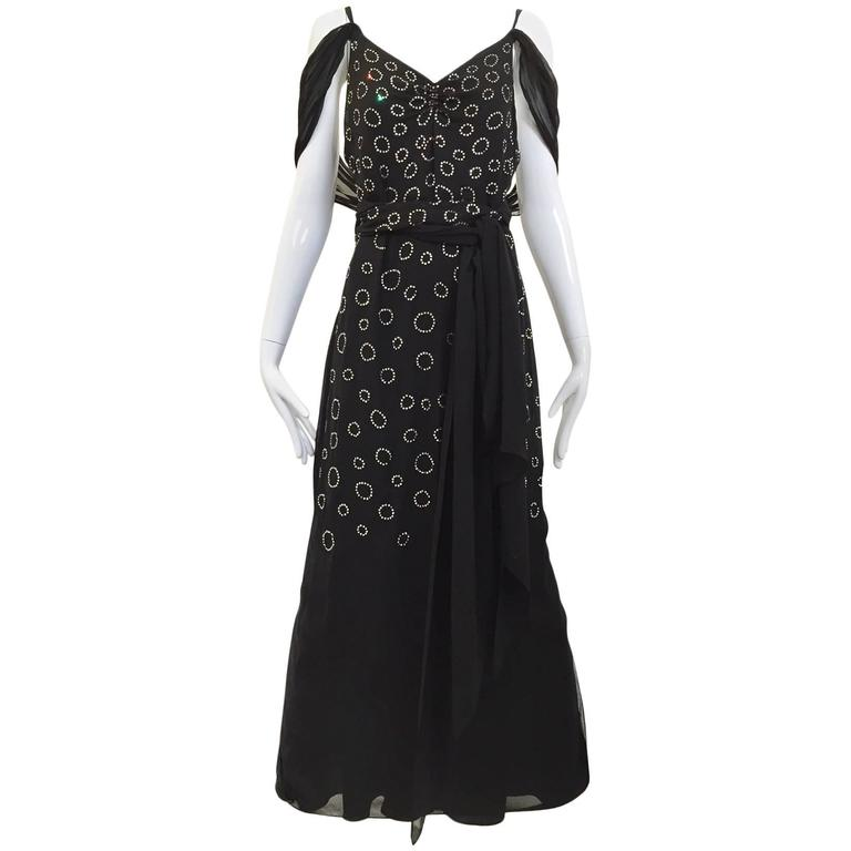 1930s Black and silver rhinestones  evening gown