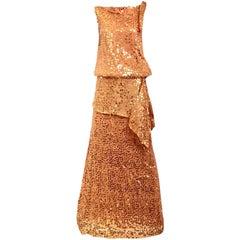 1990s Marcel Marongiu Orange Gold Metallic Sequin silk Gown