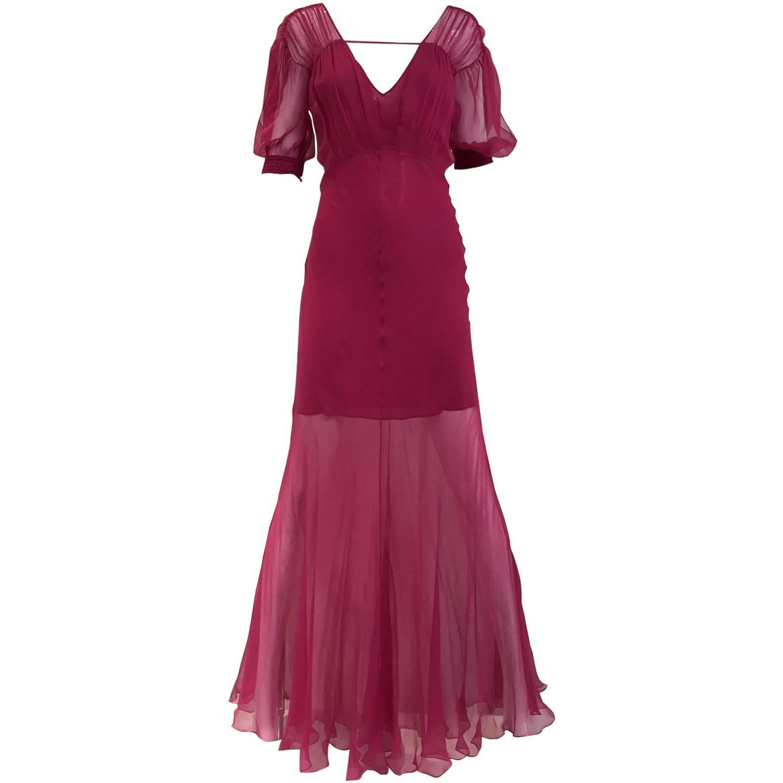 Christian Dior by John Galliano maroon silk chiffon V neck gown