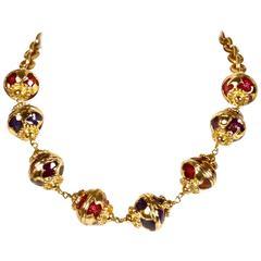 unworn 1980's YVES SAINT LAURENT enameled gilt necklace