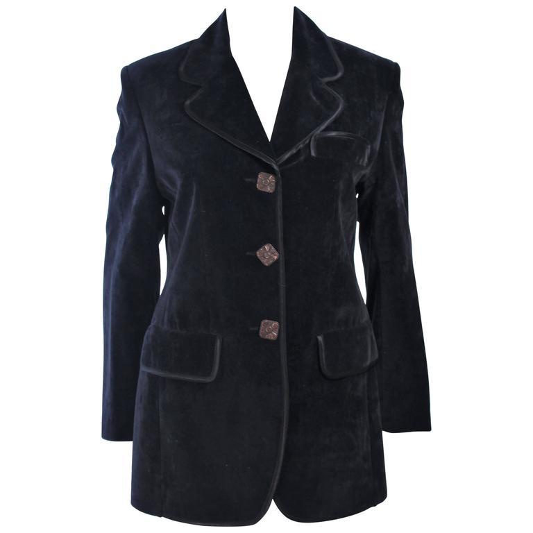 CHRISTIAN LACROIX Black Velvet Jacket with Silk Trim Size 40