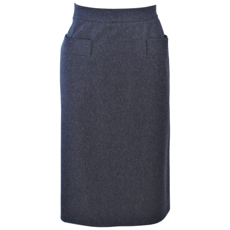 YVES SAINT LAURENT Charcoal Wool Pencil Skirt Size 46  For Sale