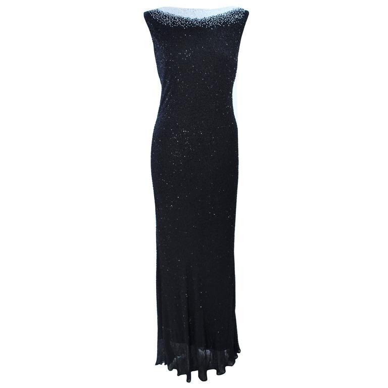 JOVANI Black & White Beaded Gown Size 6 8 1