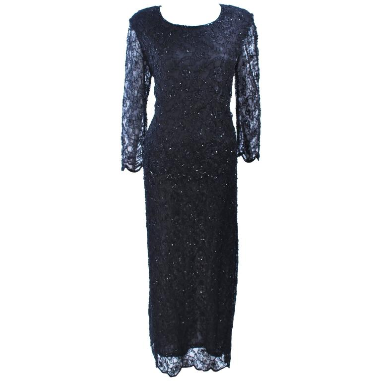 FRANK USHER Black Lace Beaded Gown Sheer Sleeves Size 12 1