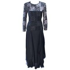 CAROLINA HERRERA Black Metallic Lace Gown Draped Chiffon Size 8 10
