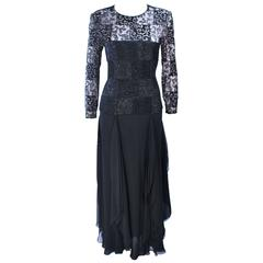 CAROLINA HERRERA Black Metallic Lace Gown Draped Chiffon Size 8 10