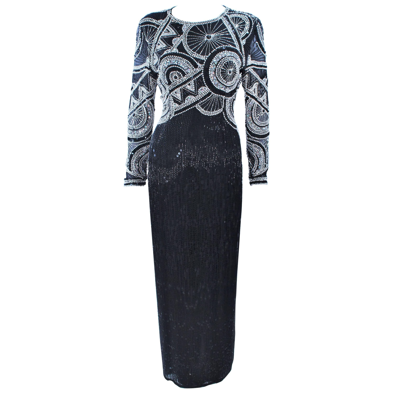 OLEG CASSINI 'Black Tie' Beaded Gown Size 6