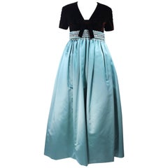 SARMI Brown Velvet and Aqua Silk Gown with Embellished Waist Size 4 6