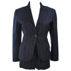 ALAIA Black Pinstripe Short Suit Size 0