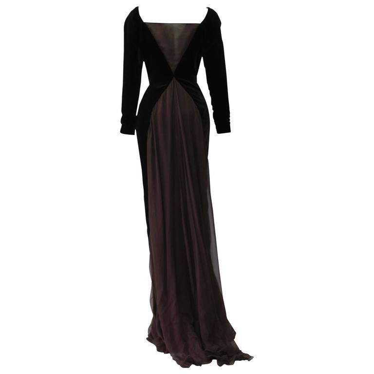 Museum Quality Gianfranco Ferre Silk Velvet Panel Evening Gown 1989 1