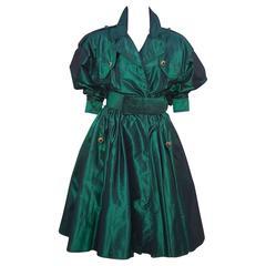 Dramatic 1980's Michael Casey Green Taffeta Trench Coat Dress