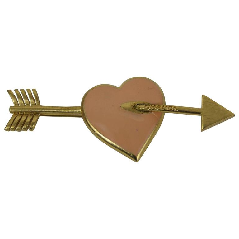 Chanel Heart and Arrow Shape Emanel Brooche For Sale