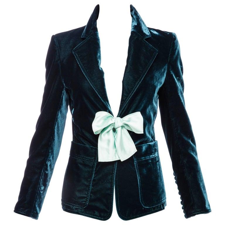 Tom Ford for Yves Saint Laurent Runway Emerald Silk Velvet Blazer, Fall 2003 For Sale