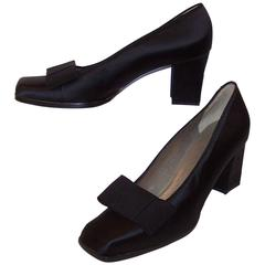 'Le Smoking' C.1990 Yves Saint Laurent Black Peau De Soie Tuxedo Shoes