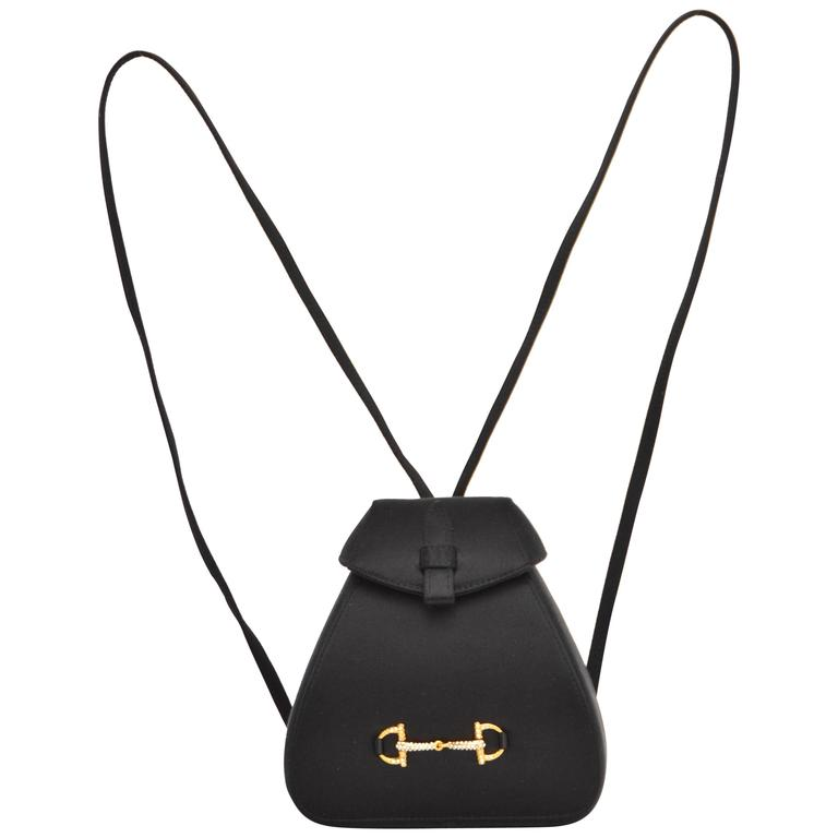 Gucci Black Satin Mini Backpack Handbag  For Sale
