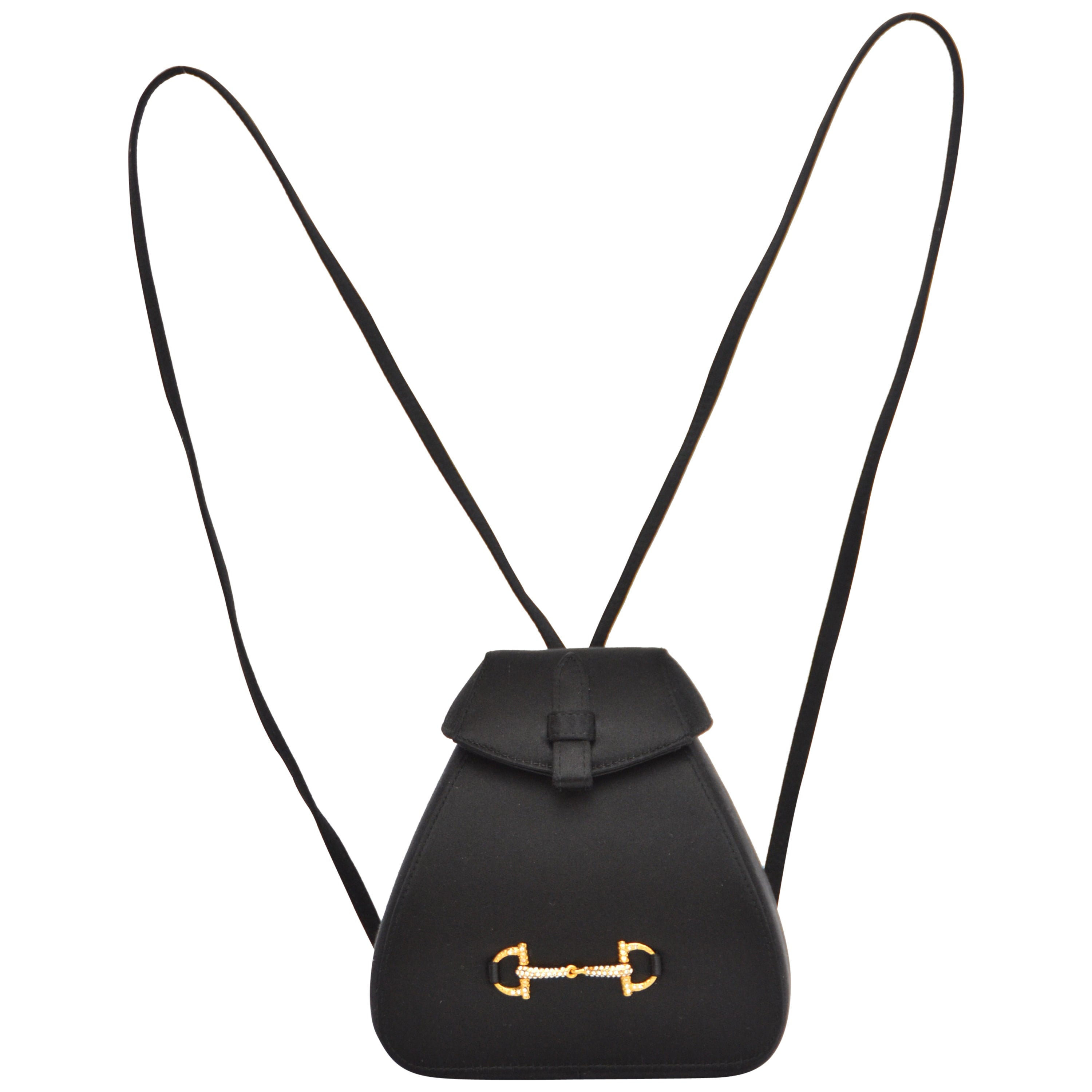 Gucci Black Satin Mini Backpack Handbag at 1stdibs