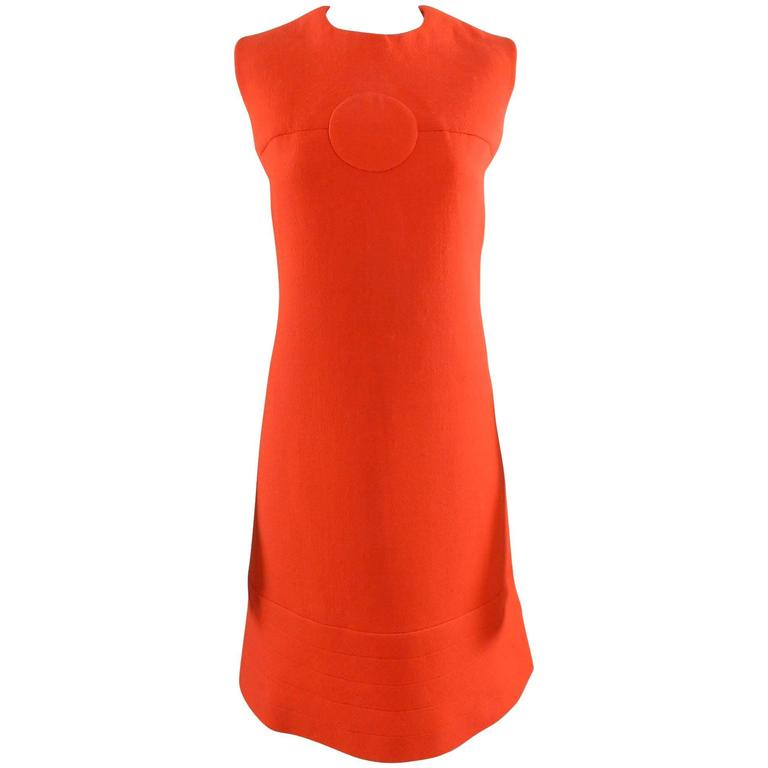 Pierre Cardin Vintage 1960's Orange Wool Mod Dress For Sale