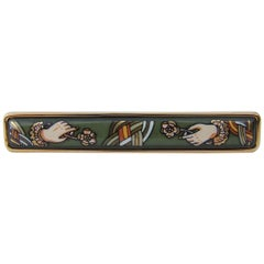 Hermès Vintage Enamel And Gold Plated Brooch Perfect Gift