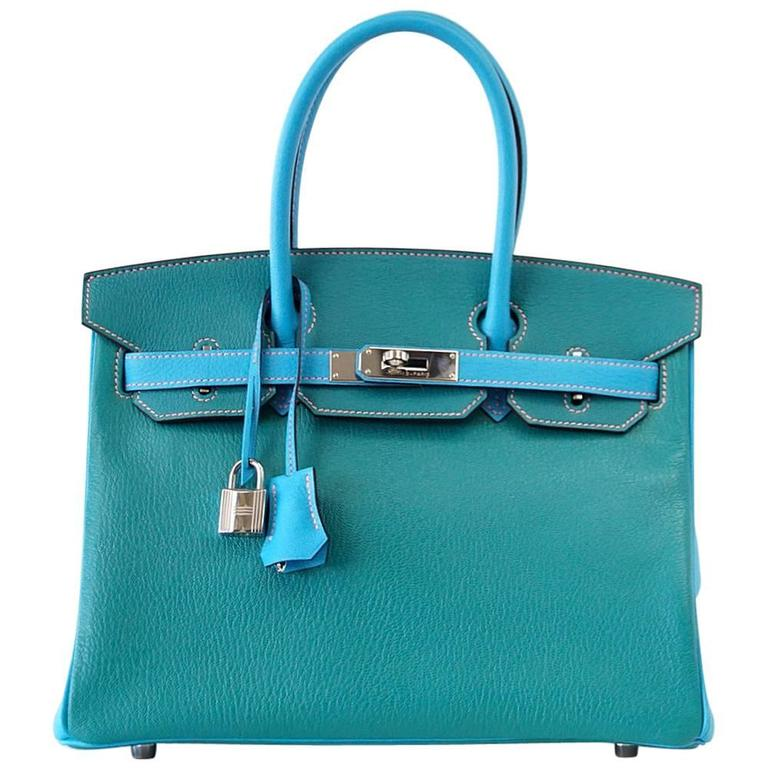 Hermes Birkin 30 Bag Blue Aztec and Paon HSS Chevre Palladium