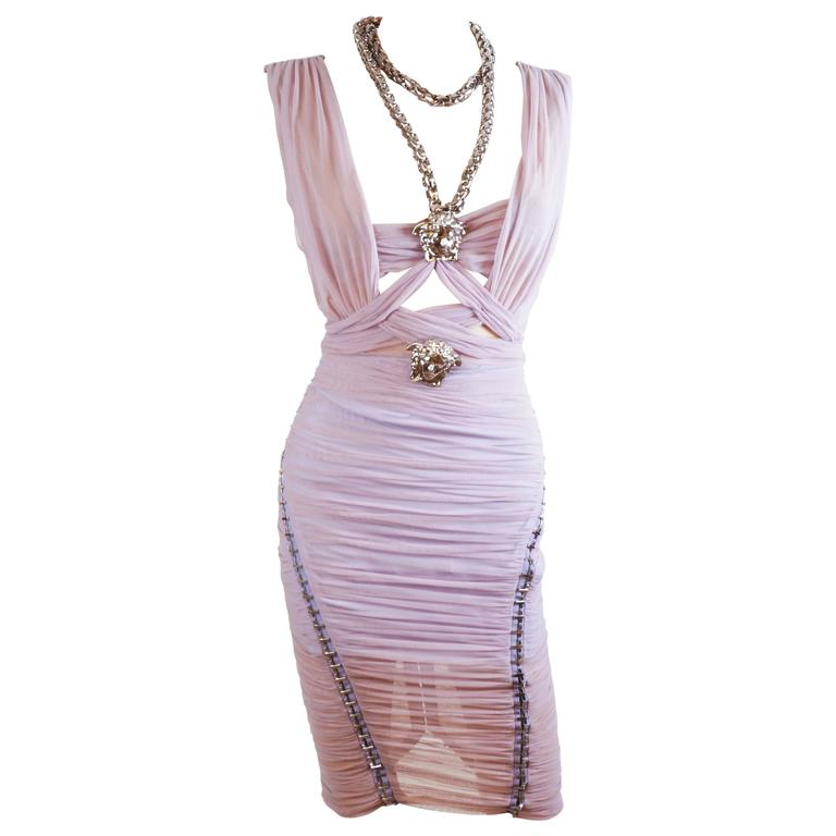 Versace Ruched Lilac Dress with Medusa chain necklace