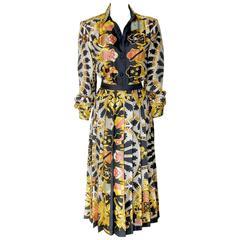 Hermes Silk Blouse and Skirt Set