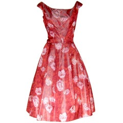 Silk Cocktail Dress Sleeveless with Red Roses Print Fabric