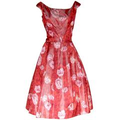 Red Roses Silk Cocktail Dress