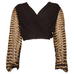 1940's Rayon Wrap Around Top with Golden Sequinned Sleeves