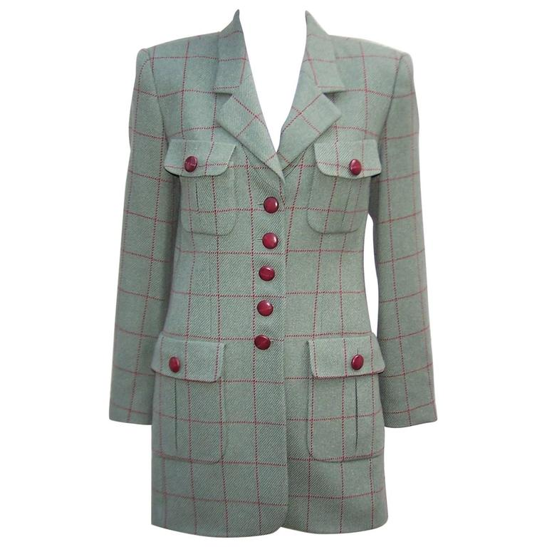 1980's Rena Lange Window Pane Print Green & Oxblood Jacket