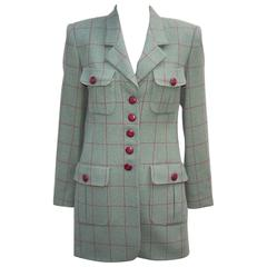 1980's Rena Lange Window Pane Print Green & Oxblood Jacket