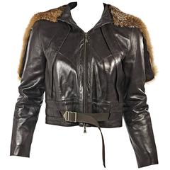 Brown Louis Vuitton Hooded Leather Jacket