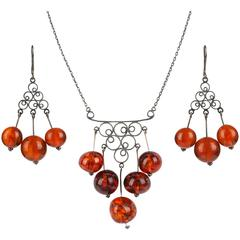 c.1970's RUSSIAN AMBER Silver 875 Demi Parure Chandelier Necklace Earrings Set