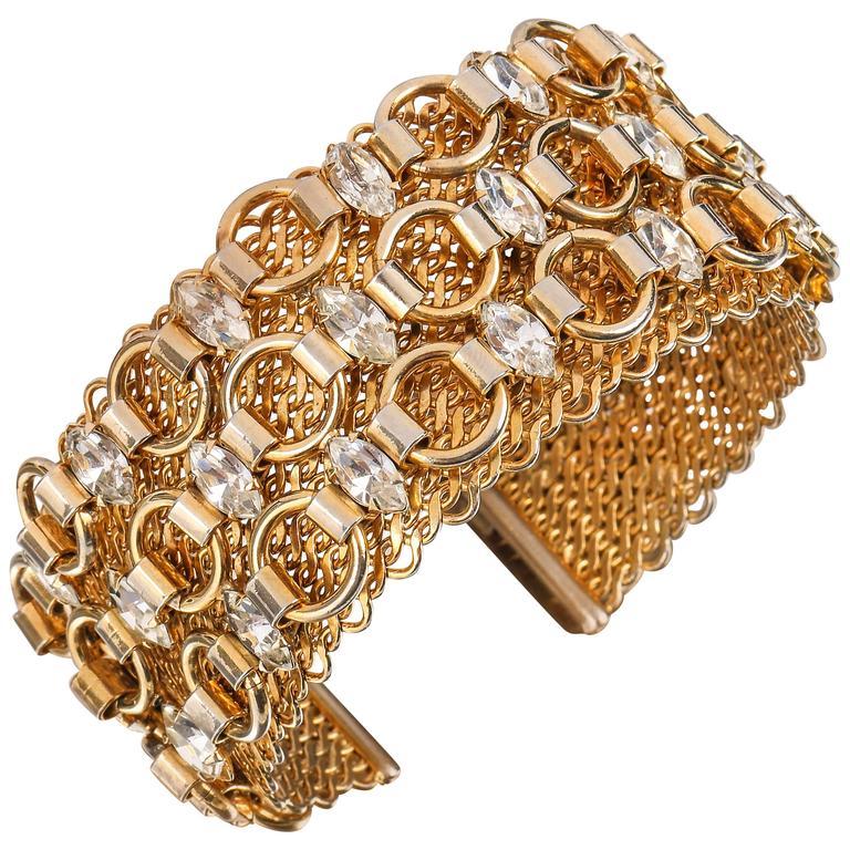 HATTIE CARNEGIE c.1960's Gold Marquise Crystal Rhinestone Wide Cuff Bracelet For Sale