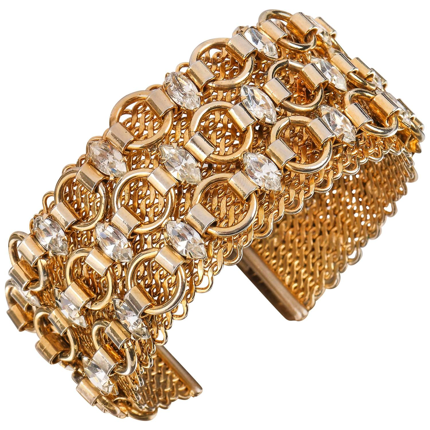 0434fe0aaad HATTIE CARNEGIE c.1960 s Gold Marquise Crystal Rhinestone Wide Cuff  Bracelet For Sale at 1stdibs