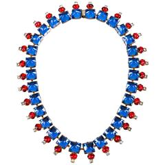 HATTIE CARNEGIE c.1960s Sapphire Blue Ruby Red Glass Crystal Rhinestone Necklace