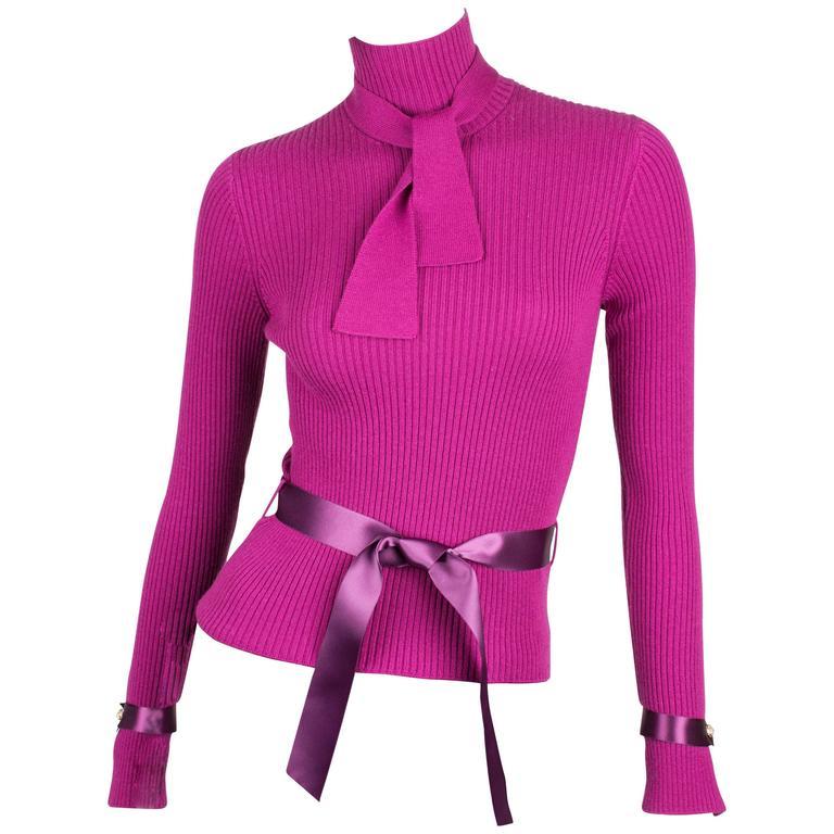 Chanel Turtle Neck Cashmere Sweater - purple For Sale