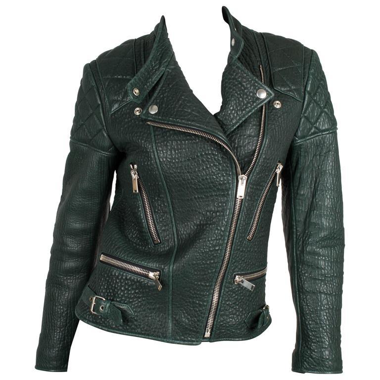 Very rare deep forest green shrunken kangaroo leather biker jacket designed by P For Sale
