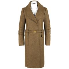 OSCAR DE LA RENTA A/W 2008 Light Brown Cashmere Buckle Belt Wrap Coat Size 12