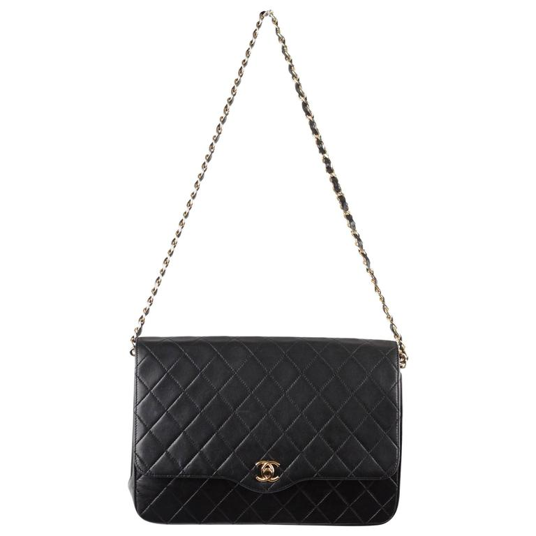 CHANEL Vintage 80s Black QUILTED Leather Classic Flap SHOULDER BAG 1