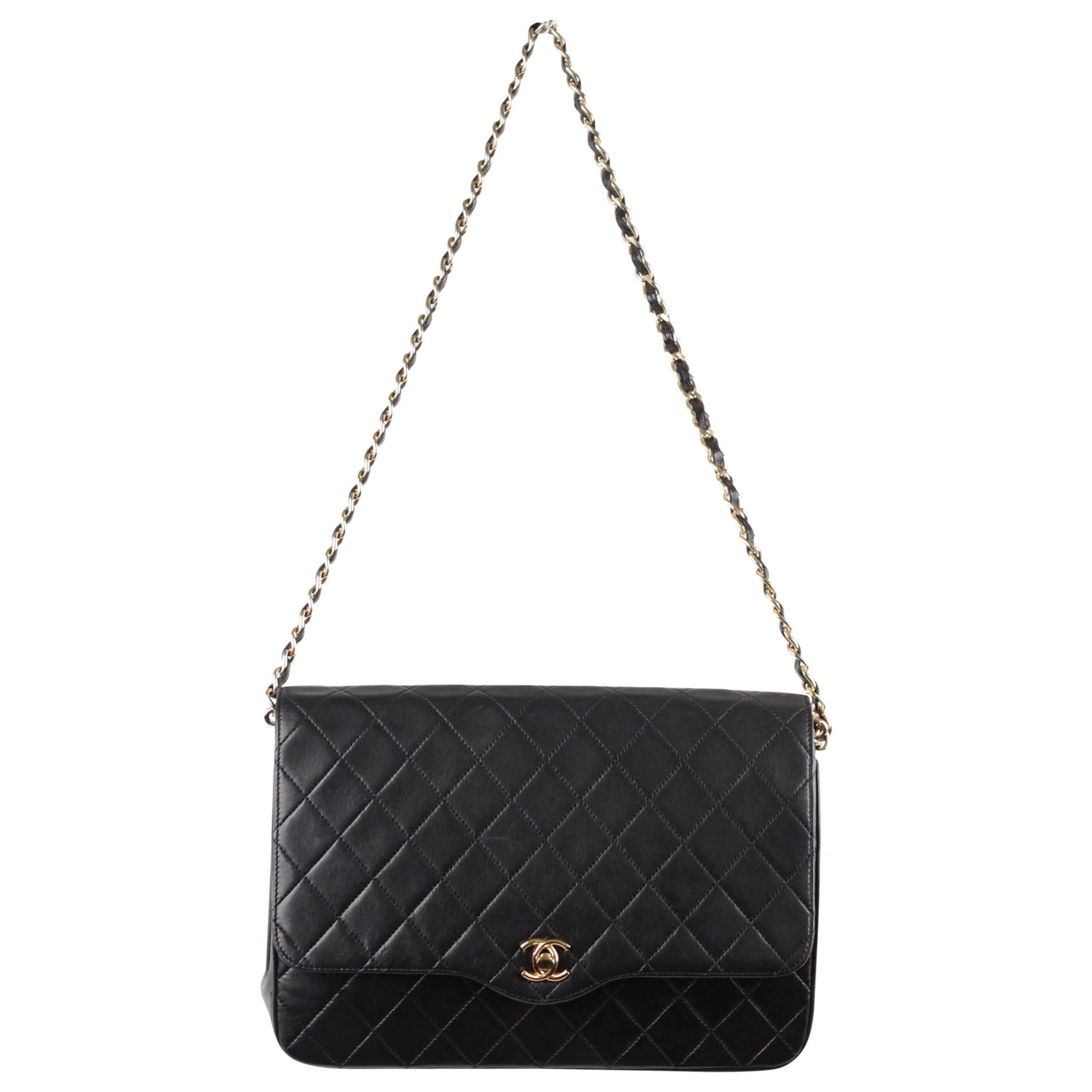 54f08bc0bea744 CHANEL Vintage 80s Black QUILTED Leather Classic Flap SHOULDER BAG at  1stdibs