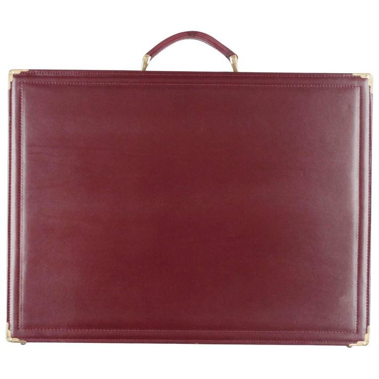 NAZARENO GABRIELLI Burgundy Leather HARD SIDE BRIEFCASE Attache WORK BAG