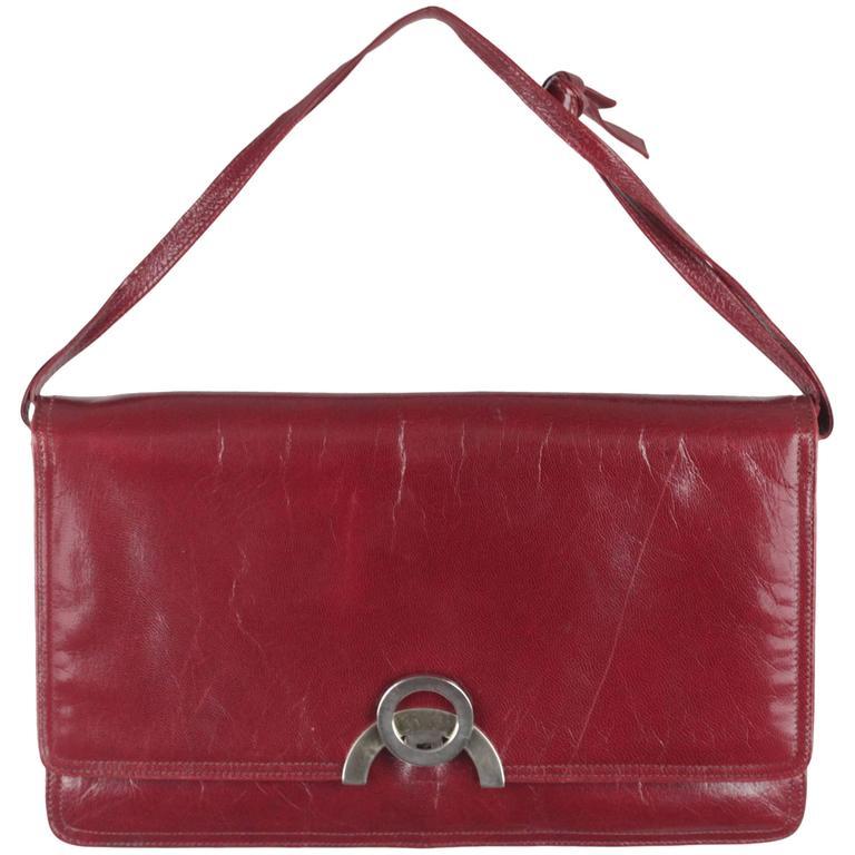 BOTTEGA VENETA Vintage Burgundy Leather FLAP PURSE Shoulder Bag CLUTCH For Sale