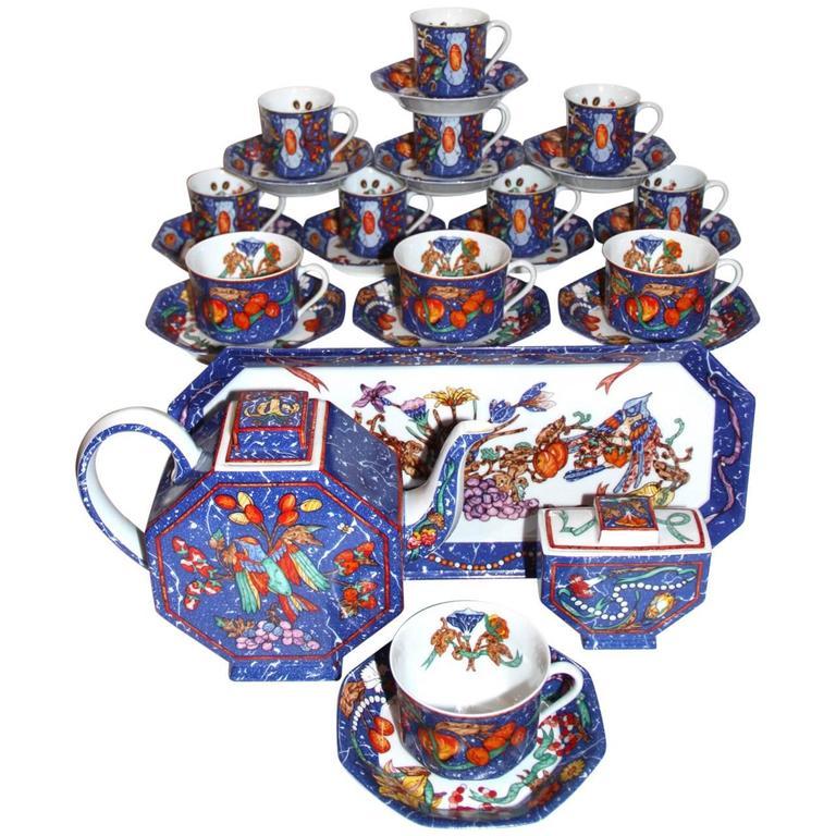 """HERMES """"Marqueterie de Pierres d'Orient et d'Occident"""" Coffee and Tea Service For Sale"""