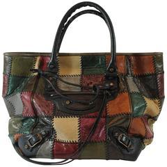 2009 Balenciaga Multicolor Patchwork Leather Small Sunday Tote Bag